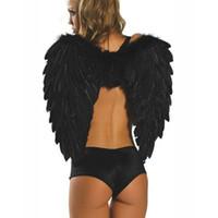 melek ürünleri toptan satış-Ücretsiz kargo! Siyah Tüy Melek Kanatları Seksi Koyu Melek Kostüm Aksesuarları Noel Cadılar Bayramı Ürün Toptan perakende 8500