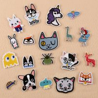 Wholesale Clothing Stickers For Kids - 19pc Animal Set Embroidery Appliques Patches Dog Cat Rabbit Unicorn Iron on Clothing Fabric Sticker for Kid clothes Stripe Badge