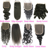 Wholesale brazilian hair fast delivery for sale - Group buy Fast Delivery Curly Body Deep Water Kinky Silk Straight Closure Cheap Malaysian Loose Wave Human Hair Top Lace Closures Piece For Sales