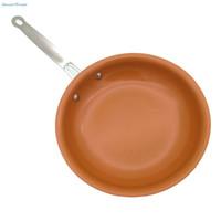 ingrosso vaschetta fritta in ceramica-Padella rotonda in rame antiaderente per pentole con rivestimento in ceramica e cottura a induzione, forno lavabile in lavastoviglie da 10 pollici