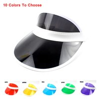 Wholesale clear visors for sale - Group buy 10 Colors Sun Hat Sun Visor Sunvisor Party Casual Unisex Hat Spring Autumn Clear Plastic Solid Adult Cap wholesal AAA676