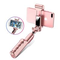 ausziehbarer selbst-selbststock handheld großhandel-Bluetooth erweiterbar Selfie Stick Handheld Falten Selbstporträt LED Flash Selfie Blitzlicht Stick Mini Handheld Einbeinstativ