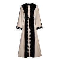 müslüman kadın abaya giyim toptan satış-2018 Yeni Vintage İslam Giyim Kadınlar Için Ince Yaz Casual Elbise Uzun Abaya Kollu Yumuşak Elbise Müslüman Kadın Sıcak Satış