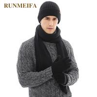 ingrosso sciarpe di lana lavorate a maglia-2018 Nuovo arrivo Autunno Inverno Warmer per uomo Pure Color HatscarfTouchscreen guanti Regali in stock