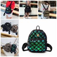 mochilas a cuadros al por mayor-Lentejuelas a cuadros mini mochilas 5 colores lentejuelas de viaje mochila escolar bolso BlingBling adolescente niñas mochila bolsas de almacenamiento 30pcs OOA5417