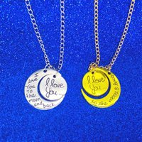Wholesale Wholesale Gifts For Mom - 2018 Fashion Necklace Moon Necklace I Love You To The Moon And Back For Mom Sister Family Pendant Link Chain letter jewelry 162567