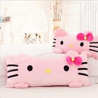 gatinho ola pelúcia venda por atacado-1 pc 60 cm Super Bonito Rosa Olá Kitty Almofada de Pelúcia Almofada de Sush Recheio Macio Presente Para A Menina Casa Travesseiro