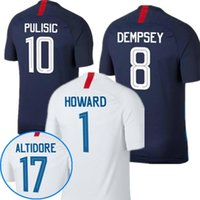 Wholesale Shirt United States Women - Top quality 2018 United States Soccer Jerseys PULISIC White Soccer Shirt Dempsey YEDLIN BRADLEY America National Team 18 19 Football Shirts