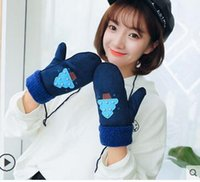 Wholesale Korean Wool Gloves - 2018 gloves winter warm thickening cute Korean cartoon wind riding students plus velvet gloves wool lovers Free shipping