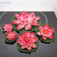 fausses fleurs de lys rose achat en gros de-flottant nénuphars Artificielle DARK rose Lotus Feuille Étangs fleurs nénuphar Flottant Piscine maison jardin mariage faux Plantes décoration D24