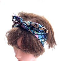 Wholesale knot leather for sale - Group buy Kids Girl Headband Knot Bunny Hairbows Mermaid Scales Baby girl Lovely hair accessories Elastic Summer