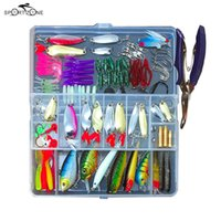 Wholesale fishing lure kits - 73 Fishing Lures Set Mixed Minnow Popper Spinner Hook Fish Lure Kit With Box Isca Artificial Bait Fishing Gear Pesca