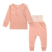 Wholesale pajama years - Fashion Boys Girls Solid Color Pajama Set Cotton Long Sleeve O-Neck Sleepwear And Pants 5 Colors 2 To 6 Years Old Autumn Winter