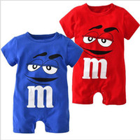Wholesale red overall shorts - Summer Kids Clothing Newborn Baby Romper Short Sleeve Summer Jumpsuit Cartoon Blue Red Printed Baby Rompers Overalls Baby Clothes
