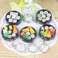 encantos sushi venda por atacado-Simulação Sushi Em Forma de Chaveiro Chaveiro Bolsa Purse Car Phone Charme Decor Chave Corrente FFA150 50 pcs