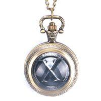 счастливые часы оптовых-Оптовые традиционные Tai Chi логотип дизайн латунные карманные часы с цепью ожерелье повезло для мужчин женщин