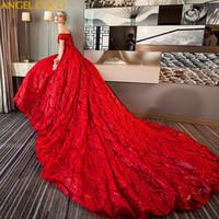 cauda de vestido de noiva venda por atacado-Vestido de Noiva de maternidade Europeu Americano de Luxo Cauda Longa Vermelho Grande Tamanho Grávida Noiva Vestido de Casamento Roupas de Maternidade