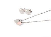 kadın kolye askıları toptan satış-Yüksek Kalite Charm İngilizce Mektuplar Çift Kalp Kolye Kolye Altın Gümüş Kaplama Paslanmaz Çelik Kadınlar Için Kolye Küpe Seti Takı