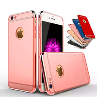 Wholesale plated armor - Luxury 3 in 1 Shockproof Case For iPhone X 8 7 6 6S Plus Case Hybrid Plating Armor Case for iPhone