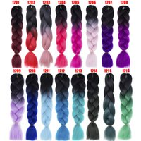 Wholesale tone ombre braiding hair resale online - 24 quot Tone Jumbo Twist Hair Braid Hight Temperature Synthetic Omber Color Braiding Crochet Braiding Hair Extensions A
