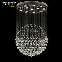 Wholesale Vintage Lustres - Round Shape Lamp Luxury Modern Crystal Chandelier Light Lustres Hall Cristal Lamp Home Lighting for Flush Mounted Lights