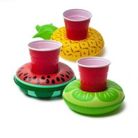 Wholesale floating drink holder resale online - Water Inflatable Toys Cup Holder Watermelon Lemon Pineapple Drink Coaster Coconut Tree Pool Floats Cups Mat Hot Sale jt WW
