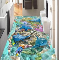 Wholesale custom printed stickers resale online - 3 d pvc flooring custom photo wallpaper wall sticker sea Dolphin coral fish home decor d wall murals wallpaper for walls d