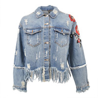 Wholesale Floral Jean Jacket - 2018 Flower Embroidery Denim Jacket Coat Women Vintage Autumn Tassels Basic Jackets 2018 Casual Ripped Jean Jacket Outerwear