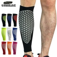 проложенные ножные рукава для баскетбола оптовых-2Pcs Compression Running Calf Leg Sleeve Football Shin Guard Cycling Leg Warmers Soccer Sport Legwarmers Basketball Knee Pads