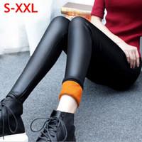Wholesale fleece leggins - Velvet Faux Leather Legging Women Winter Leggings Warm leggings Plus Size Black Leggings Calzas Mujer Leggins Thick Fleece Sexy