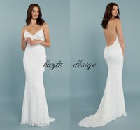 Wholesale vintage pretty bridal - Pretty Lace Mermaid Princeville Wedding Gown From Katie May 2018 Modest Spaghetti Backless Bohemian Country Bridal Wedding Dresses