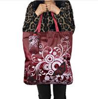 эко-квадратные сумки оптовых-Бабочка большой квадратный карман Сумка для покупок, Экологичная складная многоразовая Портативная сумка для переноски Сумка Полиэстер для путешествий Бакалея