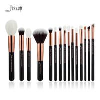 jessup escovas de maquiagem venda por atacado-Jessup marca rose gold / black profissional pincéis de maquiagem set maquiagem pincel kit de ferramentas fundação em pó de cabelo sintético natural