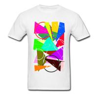 erkek şık gömlekleri toptan satış-Renkli Blend Grafik Tshirt Doodle Sanat Tasarım Görüntü T Shirt Erkekler Parlak Renk Erkekler 'S Moda Yaz Giysileri Sokak Tarzı