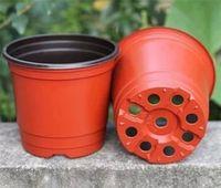 ingrosso vaso di colore rosso-Doppio colore vasi da fiori plastica rosso nero vivaio trapianto di bacino infrangibile vaso da fiori casa piantatrici forniture da giardino 0 17hy7 bb