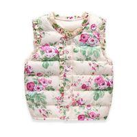 casaco floral para crianças venda por atacado-Inverno Crianças de Sweet Floral Vest meninas Jaquetas Algodão Quente Crianças Vest para a menina Colete Crianças Casacos Casacos