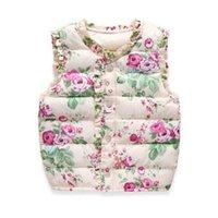 coletes de algodão venda por atacado-Vest Meninas Casacos de algodão quente do inverno das crianças floral Sweet Crianças Vest para a menina Colete Crianças Casacos Casacos