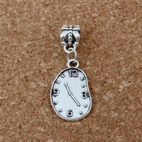Wholesale Clock Beads - MIC 100pcs lot Antiqued Silver Melting Clock Dangles Beads Fit European Charm Bracelet Jewelry DIY Metal