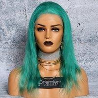 saç doğal ışık toptan satış-8a Tam Dantel İnsan Saç Peruk Brezilyalı Bakire Kıllar Açık Yeşil Renk Düz 130% Yoğunluk Doğal Saç Çizgisi Ile Bebek Saç