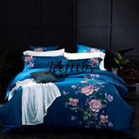 Wholesale royal blue bedding - 60SEgyptian Coon Embroidery Silk Luxury Royal Bedding Set 4 6pcs King Queen Size Wedding Bed Sheet Set Duvet Cover Pillowcases