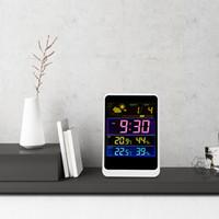 dijital kablosuz hava istasyonu termometre toptan satış-Kablosuz Hava İstasyonu Renkli LCD Dijital Termometre In / Açık Sıcaklık Kontrol Nem Ölçer Çalar Saat