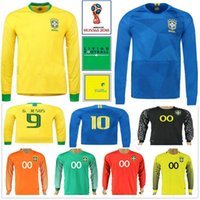 Wholesale long sleeve black shirt - 2018 World Cup Long Sleeve Football Jersey Shirt 10 PELE RONALDINHO COUTONHO G.JESUS MARCELO Home Yellow Away Blue Soccer Jersey