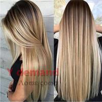 perfekte lange haare großhandel-Blonde Gerade Langes Haar Schwarz Gold Gradient Perfekte Haaransatz Synthetische Perücke Ombre Mischfarbe