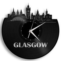 Wholesale Unique Ideas - Glasgow Vinyl Wall Clock Cityscape Unique Special Gift Ideas Home Decor Art Room Wall Art Clock (Size: 12 inches, Color: Black)