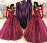 ingrosso vestito da promenade rosa bordeaux-2018 Borgogna Prom Dresses Off spalla pavimento lunghezza abiti da sera con pizzo 3D Applique Tulle abiti da cerimonia formale Abiti occasioni speciali