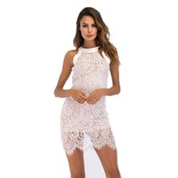7aefa51919c Women lace dress Summer elegant hanging neck hollow ladies sexy slim fit hip  pencil skirt for party work wearing