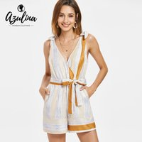 e8e3f056c3 20187 AZULINA Stripes Sleeveless Low Cut Belted Romper Women Jumpsuit  Summer Plunging Neck Casual Playsuits Overalls Ladies Clothes
