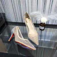 zapatos de la boda de cristal tachonado al por mayor-Red Bottoms Follies Zapatillas Strass Zapatillas con tacones puntiagudos Remaches Cristales Zapatos de mujer Boda Zapatos de tacón alto Marca de lujo