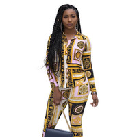 Wholesale women long sleeve rompers resale online – Rompers Women Jumpsuit Fashion Two Pieces Slim Vintage Print Overalls For Women Macacao Feminino