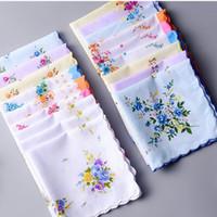 ingrosso asciugamano artigianato-100% cotone fazzoletto Asciugamani Cutter Ladies Floral Fazzoletto Decorazione festa Panno Tovaglioli Craft Vintage Hanky Oman Regali di nozze